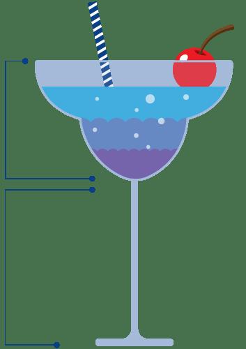 Infographic axplanation trough a cocktail illustration