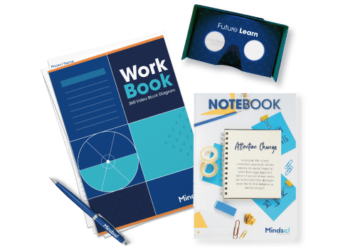 Mindsed's toolkit with workbook, carboard VR glasses, notebook and pen