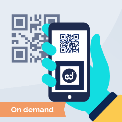 Smartphone scanning a QR code to get a course on demand